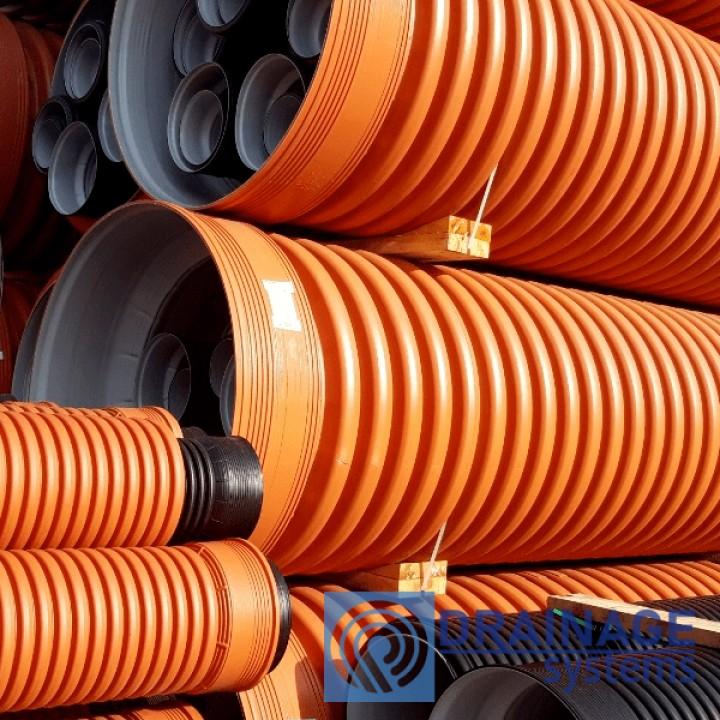 Труба 500 мм гофрированная канализационная, SN8