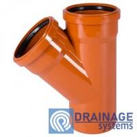 Тройник 250/250/45° для наружной ПВХ канализации