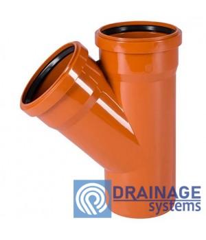 Тройник 110/110/45° для наружной ПВХ канализации