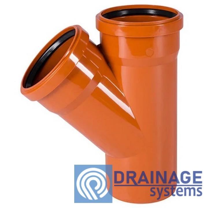 Тройник 160/110/45° для наружной ПВХ канализации