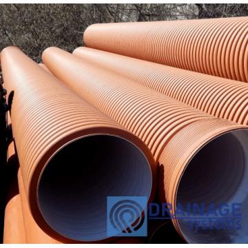 Труба 600 мм гофрированная канализационная, SN8